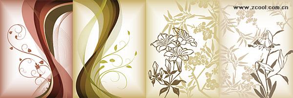 ดอกไม้รูปแบบเวกเตอร์วัสดุ
