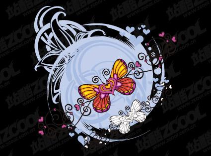 Schmetterling in Herzform-Vektor-material