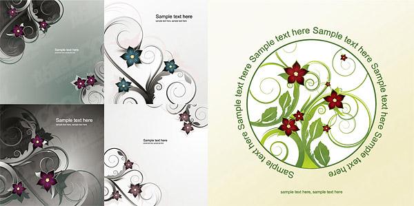 別の 5 ベクトル ファッション花パターン素材