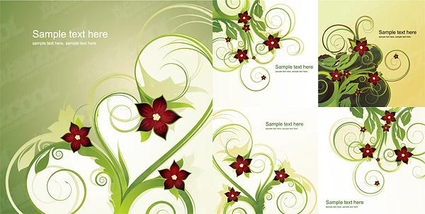 Material de vectores de patrón de moda flor 5