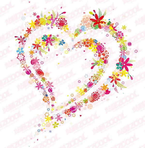 Belles fleurs, matériel de vecteur en forme de cœur