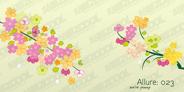 Schöne Blumen, Zweige-Vektor-material