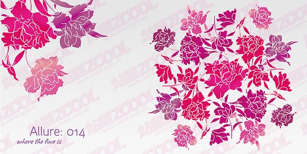 Simples y hermosas flores de vectores de material