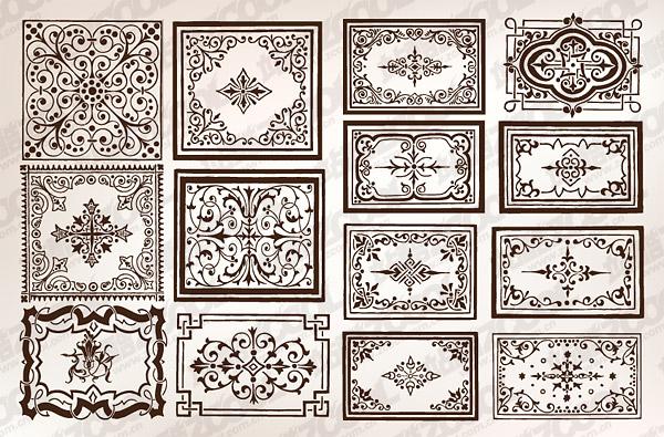 Gran variedad de práctica estilo Europeo encajes frontera vector material