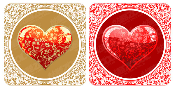 Matériau vecteur de cristal beau style patron en forme de cœur