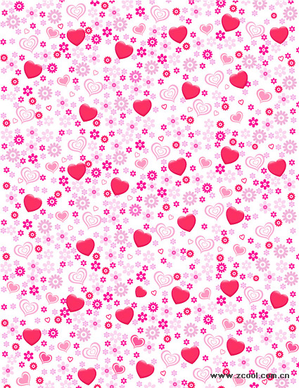 Material de antecedentes de flores en forma de corazón adorable vector