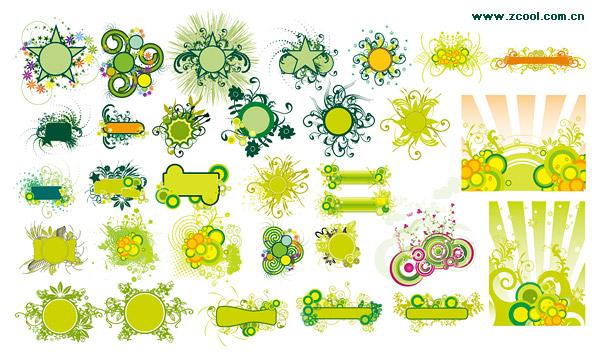 แฟชั่นสีเขียวรูปแบบเวกเตอร์วัสดุ