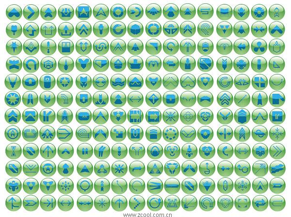 Различные символы значок кнопки зеленый хрустальный шар векторный материал