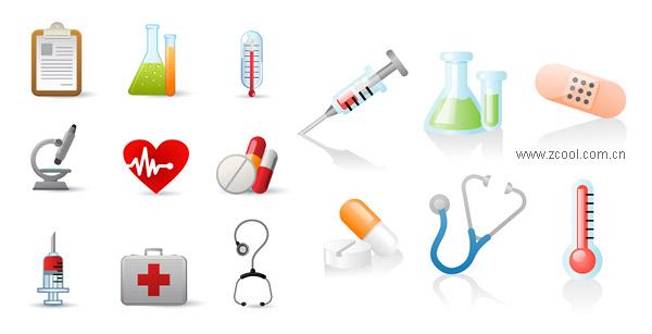Iconos relacionados con el médico de vectores de material