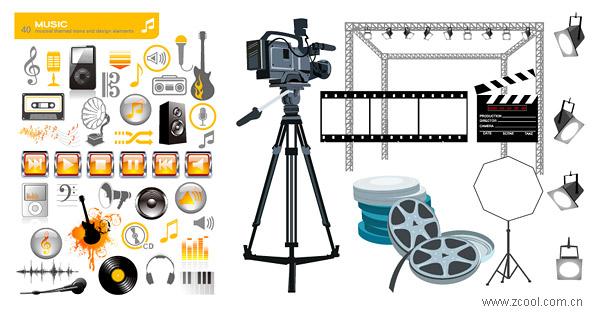 Material de vector de elemento de cine y música