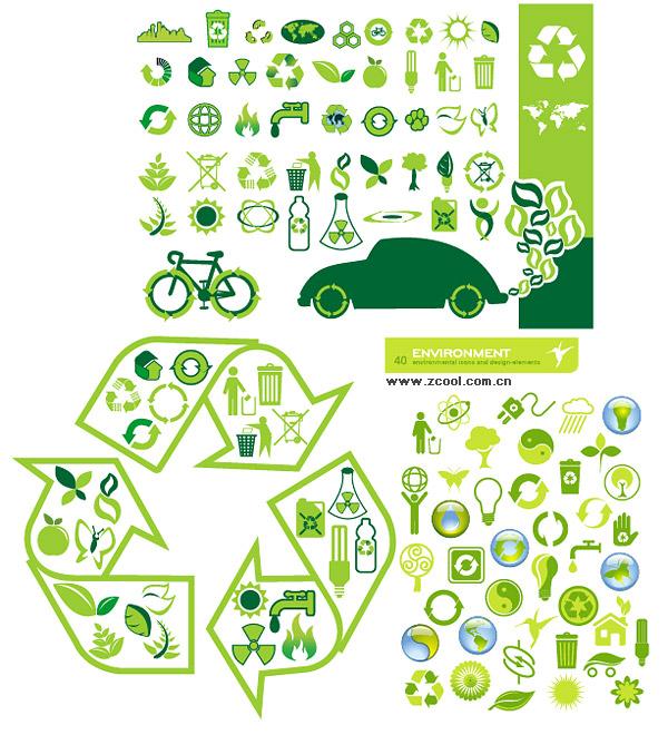 Gran variedad de temas ambientales icono material de vectores