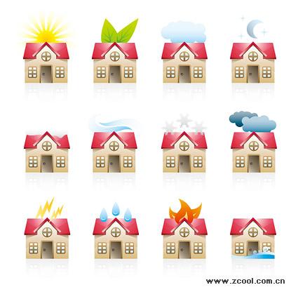 Различные состояния материала Вектор Икона дом