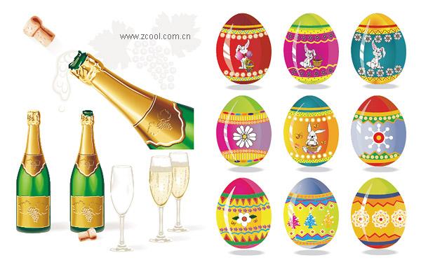 Material de Vector de Champagne y Pascua huevos