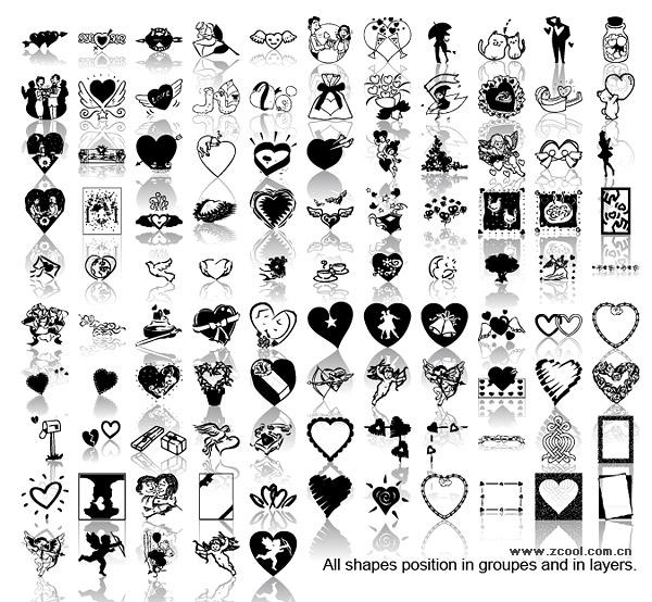 Elementos de amor preto e branco do material vector