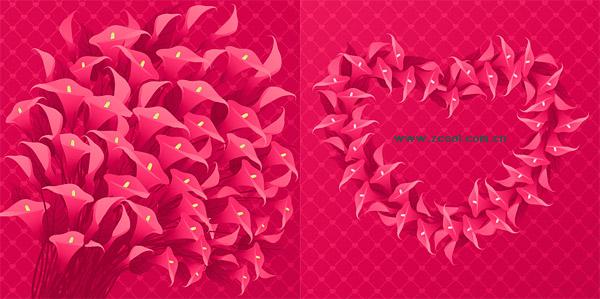 Matériau de fleur rouge en forme de cœur de vecteur