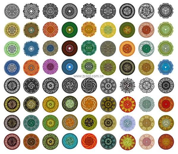 एक परिपत्र पैटर्न वेक्टर सामग्री-1 में शास्त्रीय तत्वों की विविधता