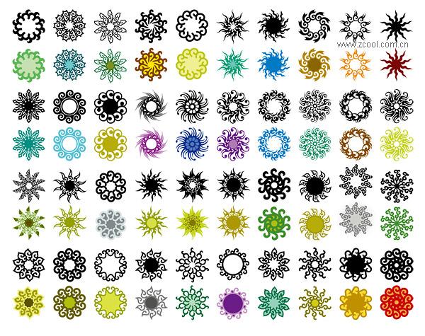 หลากหลายขององค์ประกอบที่คลาสสิกในแบบลวดลายวงกลมเวกเตอร์วัสดุ-3
