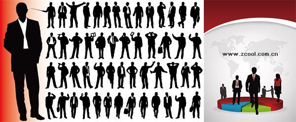 ベクトルのトルティーヤと統計資料のビジネス人々 をシルエットします。
