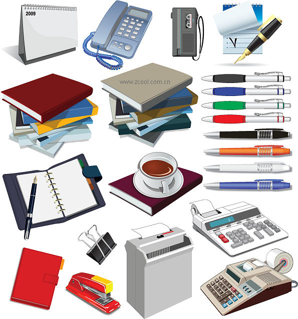 Material de vector de suministros de oficina