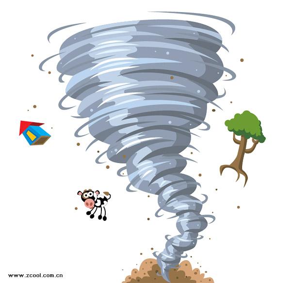 Material de vectores de dibujos animados de Tornado