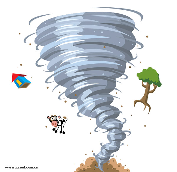 Tornado kartun vektor bahan