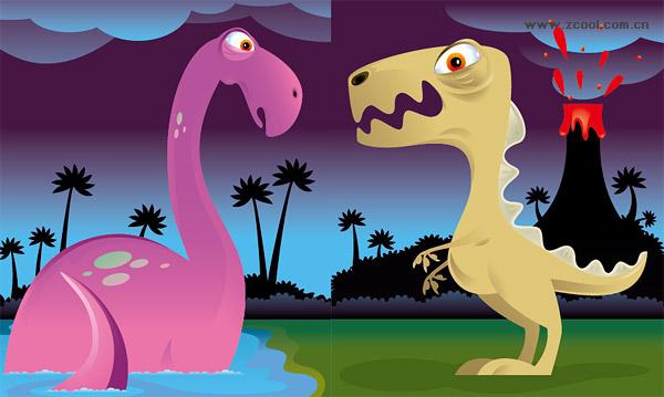 Симпатичные динозавра векторного материала