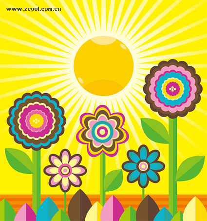美しい花、太陽のベクター素材