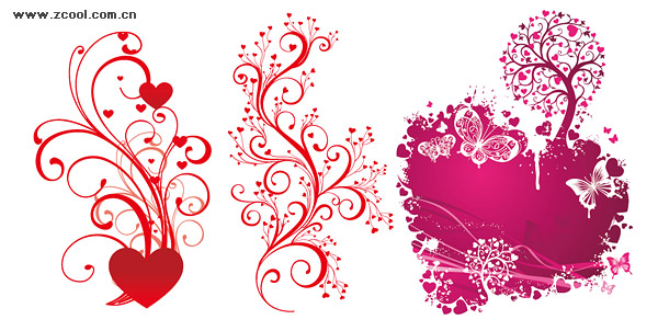 matériau de vecteur de 3 belles en forme de cœur patron