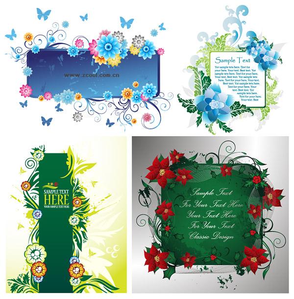 4 dekoriert wunderschön Bulletin Board-Muster-Vektor-material