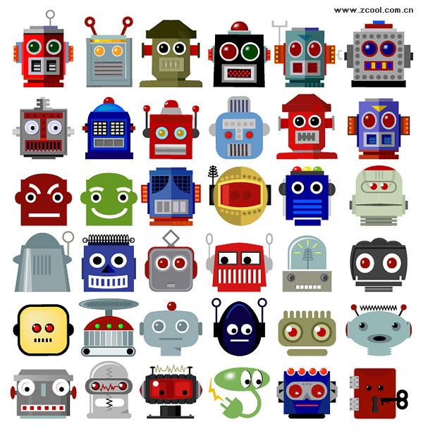 หมายเลขแบบเวกเตอร์ของวัสดุหัวของหุ่นยนต์