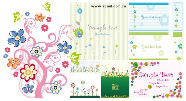 다양 한 사랑 스러운 소재 벡터 스타일 꽃 패턴