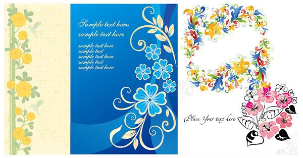 ดอกไม้น่ารักออกแบบรูปแบบเวกเตอร์วัสดุ