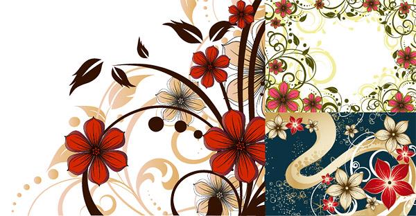 ดอกไม้รูปแบบเวกเตอร์สไตล์แฟชั่นวัสดุ