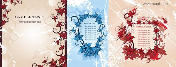 3 flores de moda de vector del marco material-2