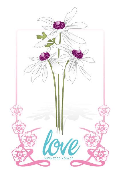Material de encaje de flores de vectores amor