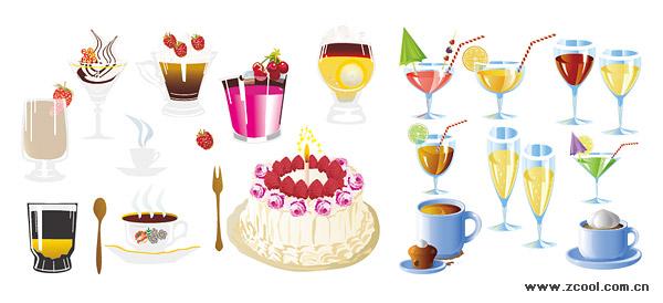 เครื่องดื่มและขนมเค้กเวกเตอร์วัสดุ