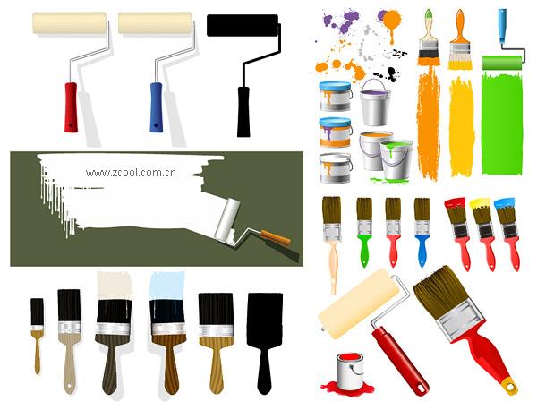 Por lo tanto pintura pintura pintura pinceles de material de vectores