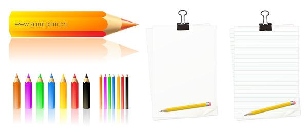 空白の紙、色鉛筆ボックス ベクトル材料