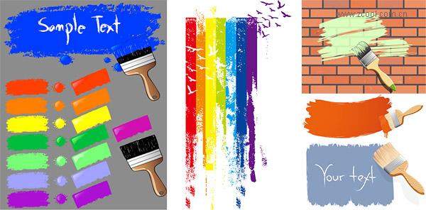 Краска кисти и краски марки векторного материала
