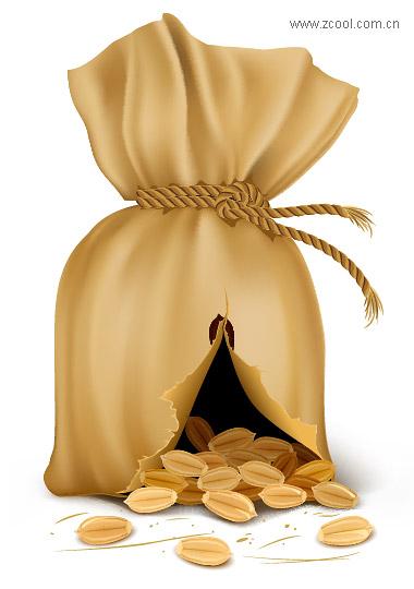 O saco contendo material de vetor de grãos de café