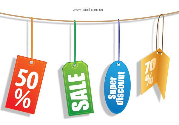 Продажи скидки декоративные измерения материала вектор