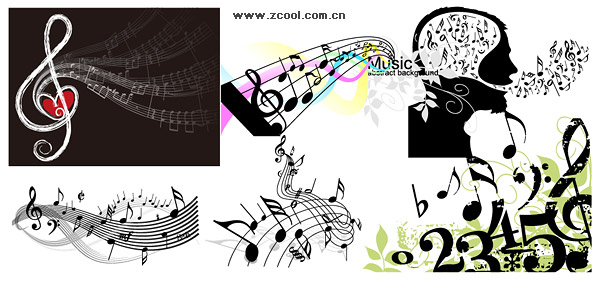Variety of theme music notes vector material