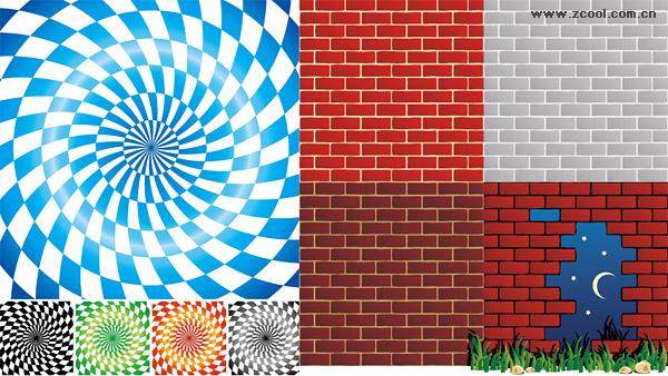 スピン格子ベクトルの背景素材とレンガ壁