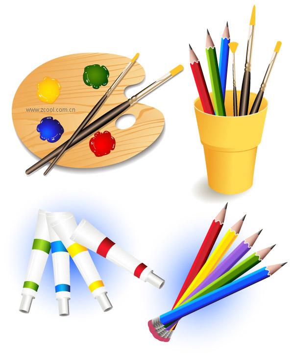 Paleta, pinceles, lápices de colores, vector de pintura