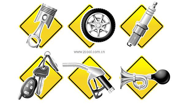 Auto partes serie icono material de vectores