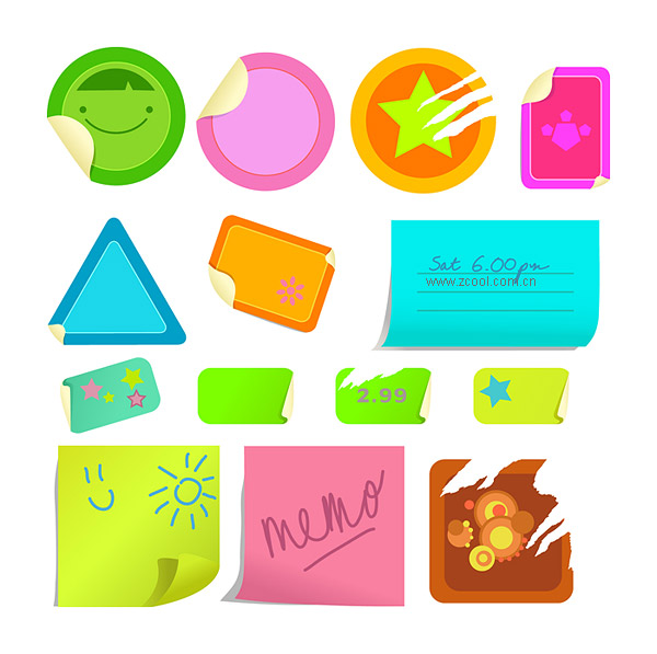 Matériau décoratif de vecteur affiché notes