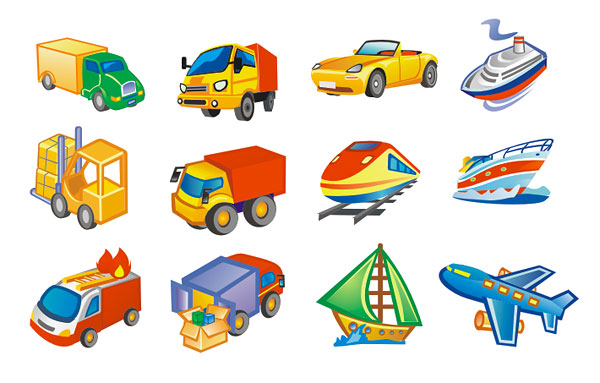 Material de vetor de ícone estilo lindo transporte