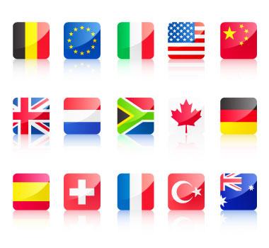 Bandera icono material de vectores