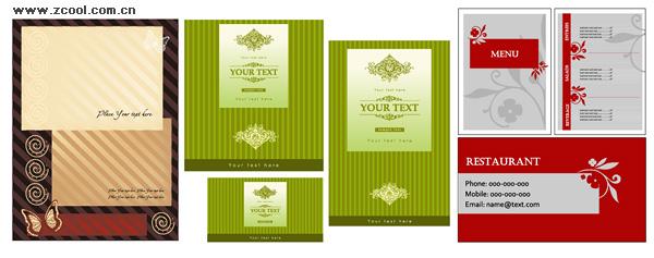 3 conjuntos de menús, como material de vector de plantilla de tarjeta de presentación