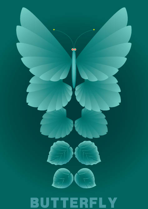 Material verlässt und Schmetterlinge Vektor